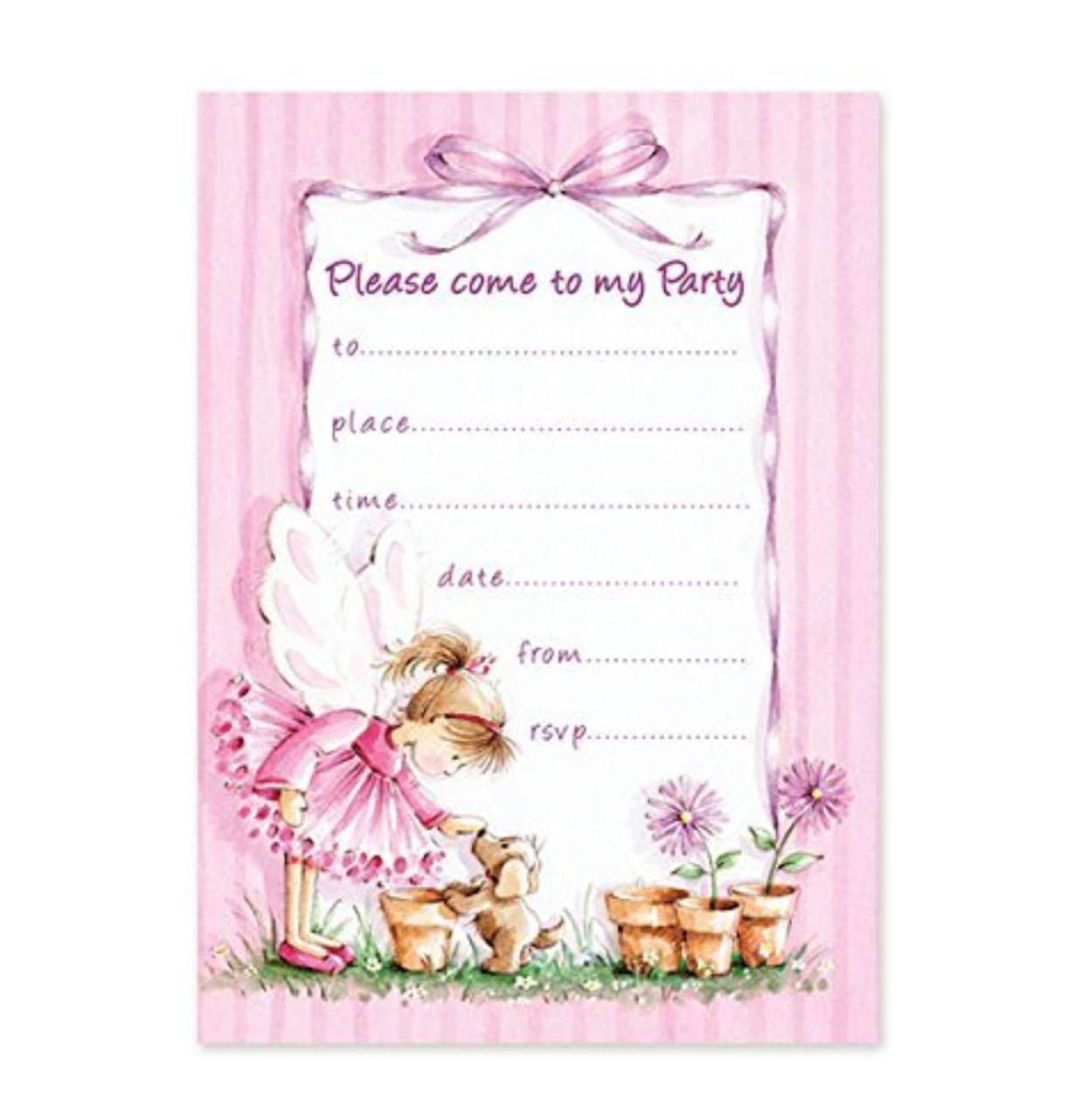 Girls Fairy Invitations Birthday Invites Pack Of 20 Sheets