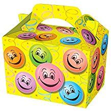 Happy Face Party Boxes - Food Loot Lunch Cardboard Gift Smiley Party Bag Boxes