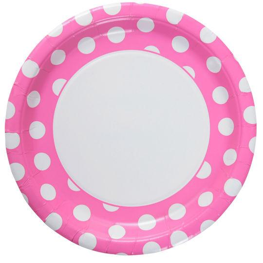 Hot Pink Polka Dot Paper Plate 23cm * Pk Party