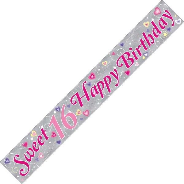 16th Birthday Holographic Banner Sweet 16