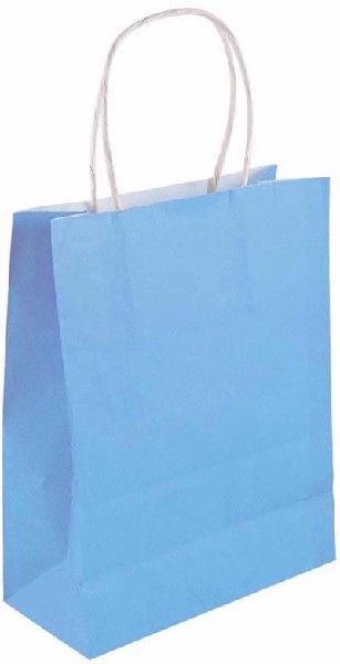 Baby Blue Paper Bag with Handles 14cm x21cm x7cm