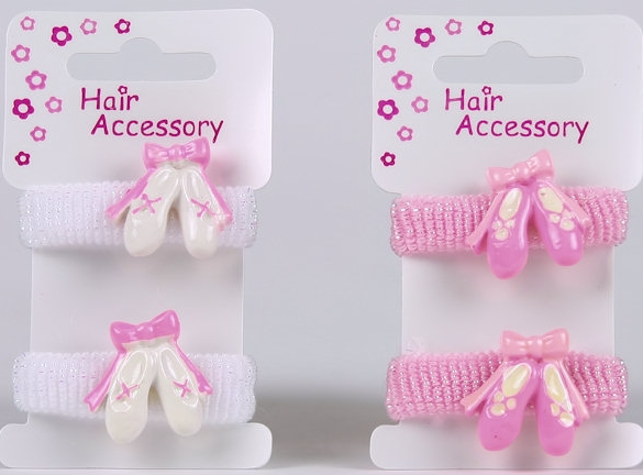 Ballerina Hair Ponios with Ballet Shoes Pink or White, Accessories