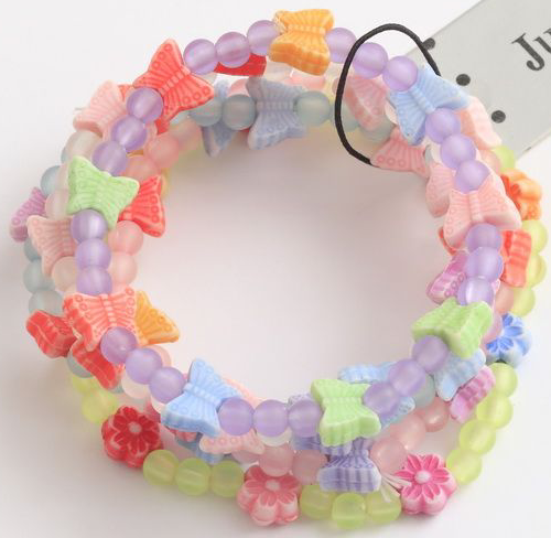 Butterfly & Bead Bracelets (1 pk of 3) Girls Party Bag Toys