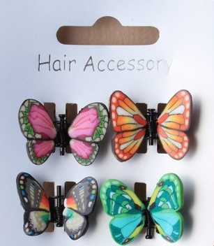 Girls Butterfly Clips Fimo Hair Clamps 4pk Girls Hair Accessories