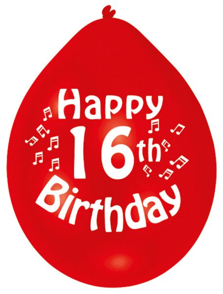 Happy 16th Birthday Balloons 22cm (1 pack of 10) Assorted Colours