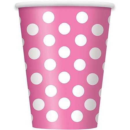 Hot Pink Polka Dot Paper Cups 6 pk Party