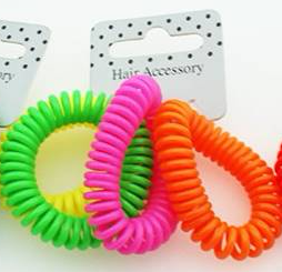 Neon Telephone Cord Scrunchies  Girls Hair Accessories Party bag Toys