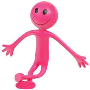 Pink Bendy Smiley Man  Party Bag Toy