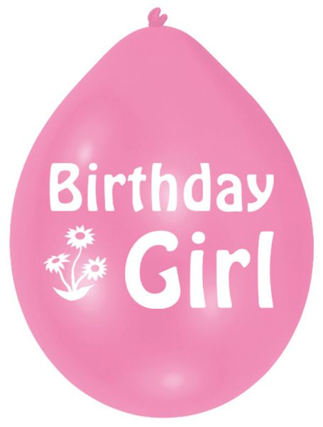 Pink Birthday Girl Balloons (1 pack of 10) 22cm