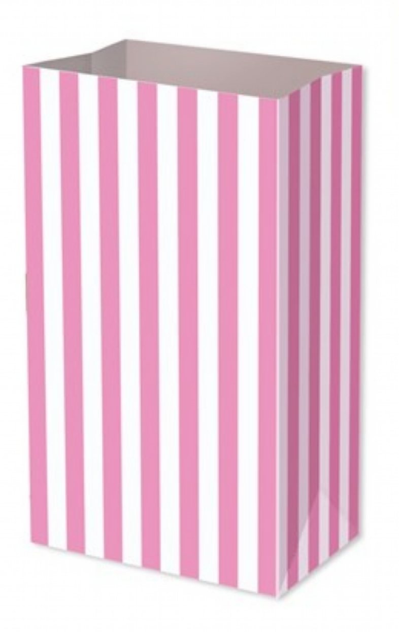 Pink Candy Stripe Paper Food/Party Bag