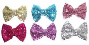 Shiny Sequin Fabric Bow 12cm