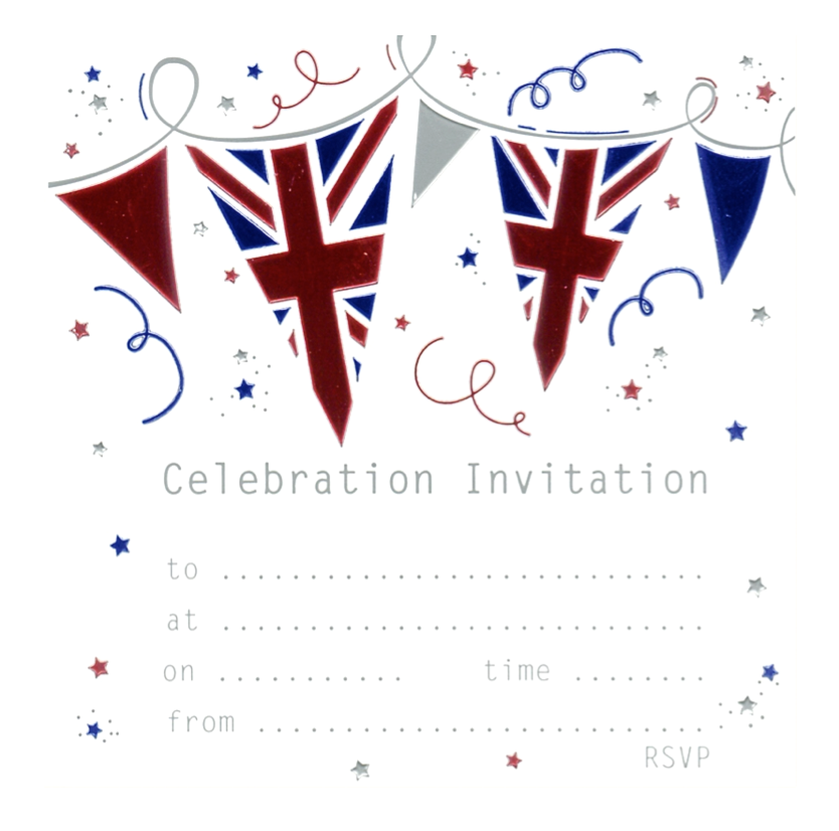 Union Jack Great Britain Jubilee Celebration Invitation Cards pack of 10