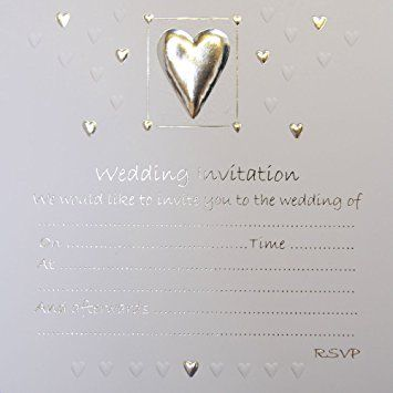 Wedding Day Invitations Silver embossed Heart design with envelopes (1 pack of 10)