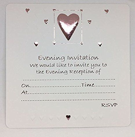 Wedding Evening Silver Embossed Heart Design Invites with Envelopes